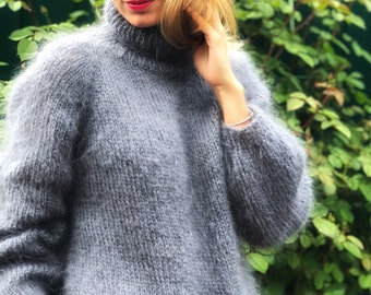 Mohair Sweater Grey, Mohair sweater, Turtleneck sweater, Wool sweater, Grey pullover, Handknit sweater, Knitted sweater, 100% hand made