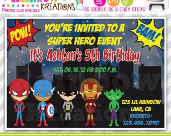 382: DIY - Super Hero 7 Party Invitation Or Thank You Card