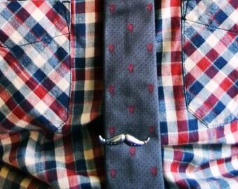 Mustache Tie Clip (Shiny Silver)