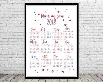 Poster calendar 2018, modern calendar, unique calendar, 2018 wall calendar, watercolor calendar, house warming gift, wall art (4422b)