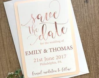 Rose Gold Save the Date Card, Custom Wedding Save the Date, Wedding invitation Set, Elegant Save the Date, Save Our Date, Cheap Wedding Card