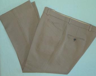 W 40 L 27 Vintage Anthony's Slacks Tan No Iron Gabardine Golf Pants Comfort Waistband Short Stout