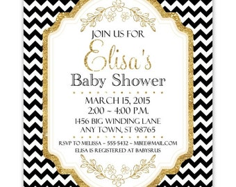 Black and Gold Baby Shower Invitation, Black Chevron with Gold Accent Baby Shower Invite, CUSTOM 4x6 or 5x7 size, YOU Print