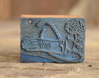 Vintage gloves Printing press block - vintage jewelry print block - antique metal stamp - Metal printing press block
