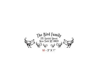 May Sale Birdies Family Return Address Custom Rubber Stamp Birdie M