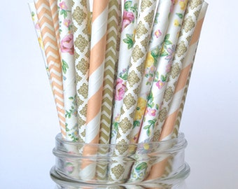 Peach Paper Straws   Peach Bridal Shower Straws with floral print, gold and peach coral patterns CORA
