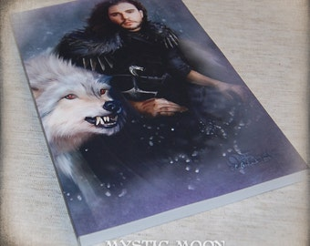 The Dire Snow - Inspired By Jon Snow Inspired Lined Journal - Soft Cover - Game of Thrones Inspired Art House Stark - Dire Wolf