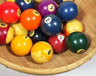 Vintage Set of Billiard Pool Balls Set of Pool Balls Billiards Pool Table Balls Collectible Pool Balls Complete Set of Pool Balls