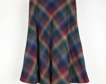 Vintage Skirt Wool  Midi Blue Green Brown Burgundy Plaid Women's 14 M Jantzen 80s