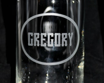 Etched Beer Can Shaped Glass for home brew, craft beer, personal beer label, groomsman gift, wedding gift,  by Jackglass on Etsy.com
