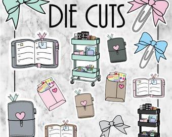 W16 Planner Die Cuts, Ephemera, Card Stock, TN Sets, Travellers Notebook, Planner Die Cuts, DieCuts, Planner Cart, Bows, Happymail, Clip