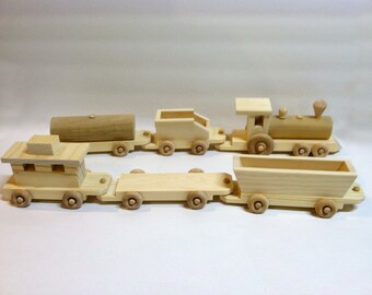 Wooden Toy Train Set - Kids Handmade Wooden Toy - Natural Gift for Toddlers-boys and girls - Reclaimed Wood