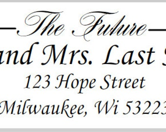 30 The Future Mr and Mrs Return Address Labels, White Wedding Address Labels, Bridal Shower Thank You Labels, Clear Wedding Address Labels