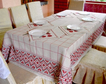Linen table set hand embroidery Linen tablecloth and napkins Embroidered tablecloth Restangle Cross stitch tablecloth embroidered napkins