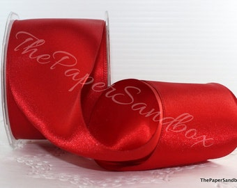 "Wired Red Satin Ribbon, 3"" wide by the yard, Wide Red Satin Ribbon, Christmas Ribbon, Gift Wrapping, Party Supplies, Wreaths"