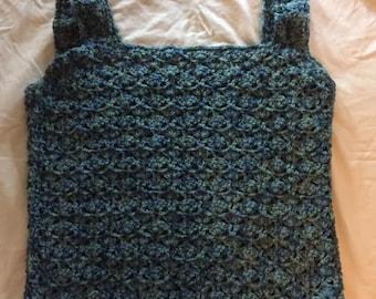 Hand Crochet Womens Sleeveless Sweater Top Blue green Multi Small to Medium