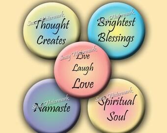 Inspirational Spiritual Words Circles Collage Sheet