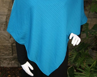 Poncho with Cowl Neck Turquoise Blue Lightweight Coverup Wrap