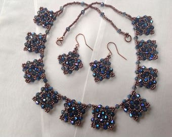Blue fire polished crystals and seed beads jewellery set