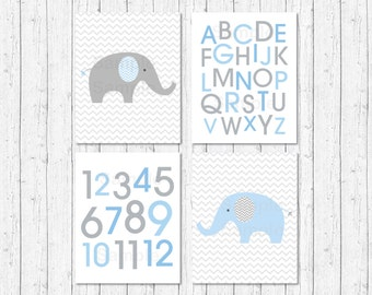 Elephant Nursery Wall Art / Elephant Nursery Wall Art / Chevron Pattern / Alphabet & Numbers / Baby Blue / PRINTABLE Instant Download A228