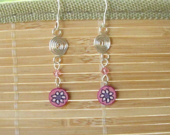 Handmade Silver Drop Earrings Pink Flower - Polymer Clay and Wire Wrapped Jewelry for Women