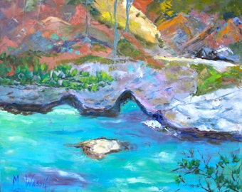 Original Landscape Oil Painting in Turquoise and Orange / 24 x 30 /  Big Sur, California Seascape / Fine Art / Gallery Wrapped Canvas