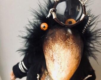 Art doll (teddy bear-crow) steampunk