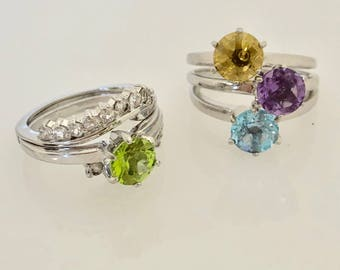 The Set of Five Sterling Silver Multi Colored Stackable Rings Size 6.5 US