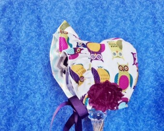 Owls Baby Bonnet Reversible Ruffled Brim Bonnet Baby Girl Bonnet Baby Sun Hat Chevron Bonnet Cotton Fabric
