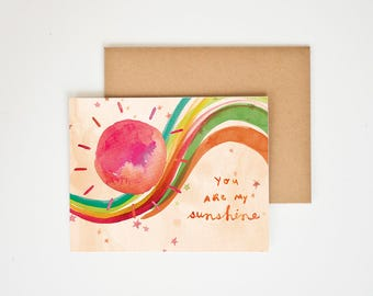 You Are My Sunshine, Valentine's Gift, Watercolor Print, Wall Art, Prints, Love, Handlettering, Greeting Card, Meera Lee Patel