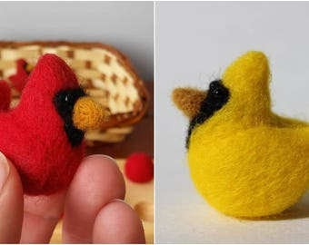 Felted Cardinals; Red and Yellow Handmade Needle felted Cardinals; Ten frame Cardinals