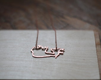 Canada Necklace- In Gold, Bronze, or Copper- Statement, Hand Carved