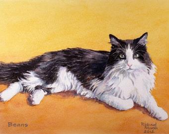 CUSTOM CAT PORTRAIT, Custom Cat Painting, Cat Painting, Black & White Cat, Cat Watercolour, Cat Gift, Birthday Gift, Cat Picture
