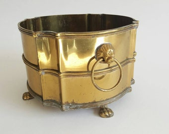Brass Pot Container With Lion Head Handles