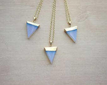 Gold Dipped Aventurine Geometric Necklace Opalite Triangle