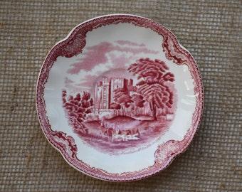 Vintage Red Transferware Johnson Bros Old Britain Castles Set of six saucers