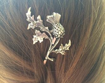 Silver Thistle Bobby Pin Scottish Thistle Hair Pin Leaf Hair Pin Leaf Bobby Pin Scottish Wedding Scottish Bridal Hair- soldered not glued!