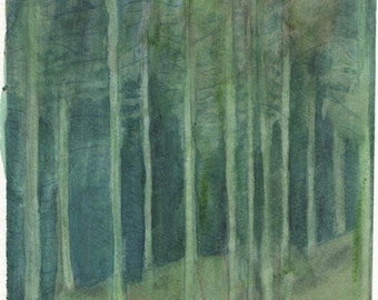 Watercolour painting of a conifer forest
