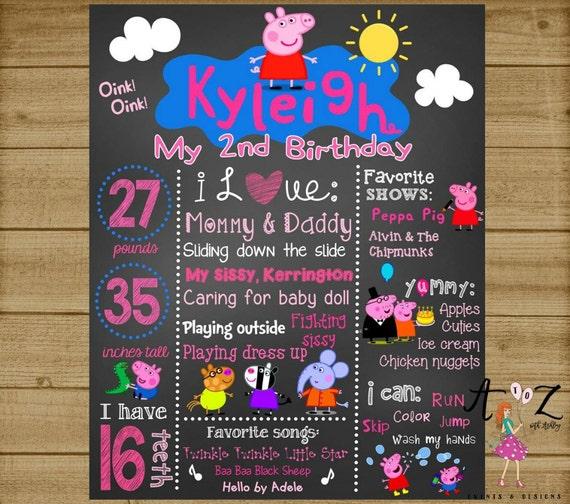 Peppa Pig Birthday Chalkboard Peppa Pig 1st Birthday