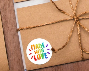 "Made With Love Stickers - 1.625 x 1.625"" Circles 24 Per Sheet - Sticker Rainbow Label Made For You Maker Packing Supplies Stationery Makers"
