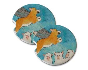 Welsh Corgi Sheep Corgi Fairy Natural Sandstone Drink Coaster Sets Home & Car Coasters Welsh Corgi Gift Welsh Corgi Art Corgi Lover Gift