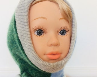 DIZZY 1-3 Years Cashmere Kids Childrens Balaclava Bobble Hat Snood Hoodie Knitted Unisex