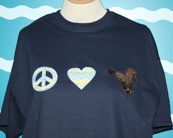 Peace love horse embroidered t-shirt - equestrian t-shirt - horse lover shirt - embroidered horse t-shirt