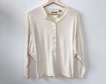 1980's Vintage Womens Quater aleeve cotton blouse