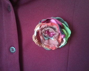 Vintage Dark Red Jersey Shirt with handmade fabric flower applique