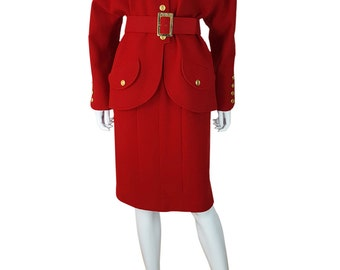 CHANEL Vintage Red Wool Two Piece Skirt Suit