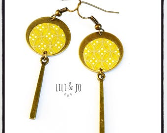Bohemian collection: Earrings round mustard and bronze with bronze chandelier earrings