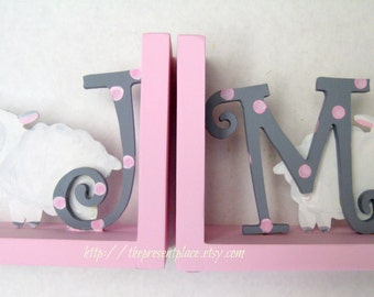 Hand painted initial bookends with sheep in pink and grey with polka dots,personalized,childrens bookends,sheep bookends,pink and grey,baby