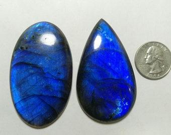 2 Pieces Blue Labradorite , Top quality labradorite , large cabochon 319.10cts size 50-60mm gemstone huge quality gemstone