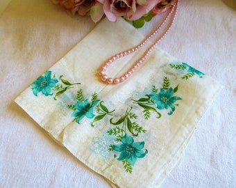 Vintage Hankie Teal Floral With Original Tags 1950's Handkerchief